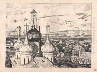 Sergiyev Posad Domes And Swallows 1923