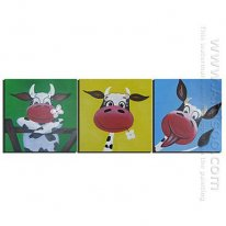 Hand-painted Animals Oil Painting - Set of 3