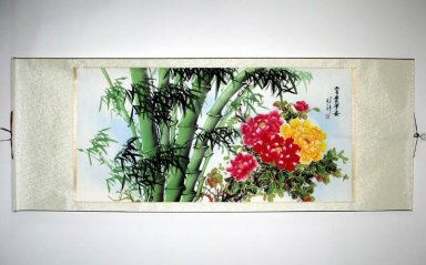 Bamboo, flowers - Mounted - Chinese Painting