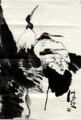 Crane - Peach - Chinese painting