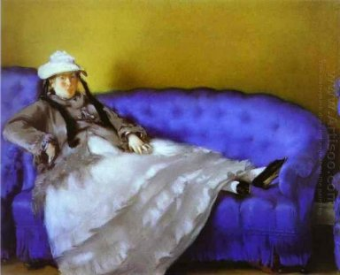 madame manet on a blue sofa 1874