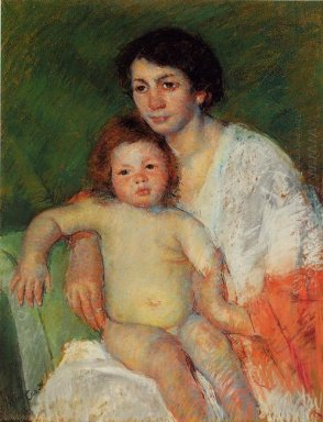 Nude Baby on Mother\'s Lap Resting Her Arm on the Back of the Cha