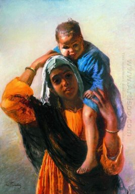 Eastern Woman With A Child