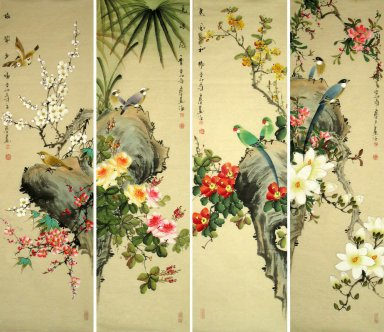 Birds&Flowers - (Four Screens) - Chinese Painting
