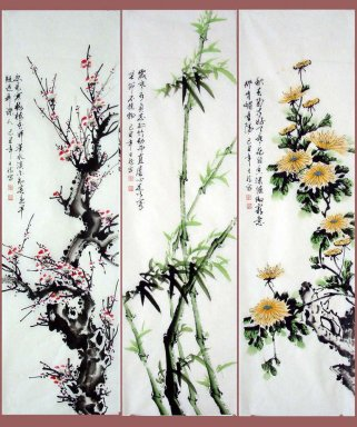 Plum,Orchid,Chrysanthemum-ThreeInOne - Chinese Painting