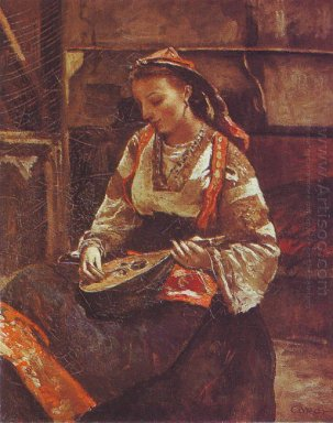 Italian Woman Sitting And Playing The Mandolin 1870