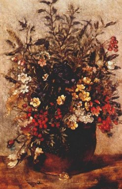 autumn berries and flowers in brown pot