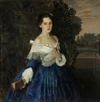Lady In Blue Retrato do artista Yelizaveta Martynova 1900