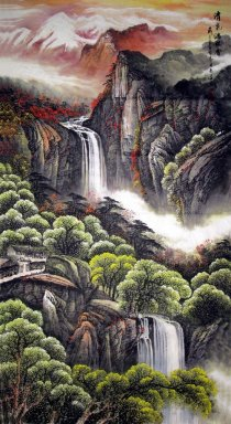 Mountains and waterfall - Chinese Painting