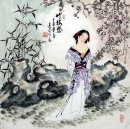 Beautiful lady, flowers - Chinese Painting