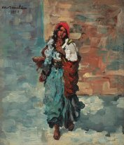 Gypsy Woman with Red Headscarf