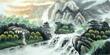 Landscape with village - Chinese Painting