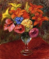 Poppies, Lilies and Blue Flowers