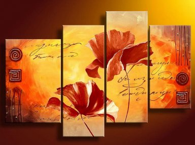 Hand-painted Abstract Oil Painting with Stretched Frame-Set of 4
