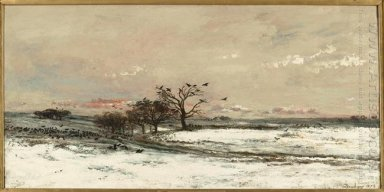 Snowy Landscape At Sunset 1873