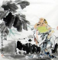 Old man in summer-Chinese Painting