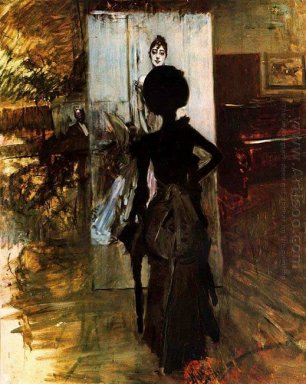 Woman In Black Who Watches The Pastel Of Signora Emiliana Concha
