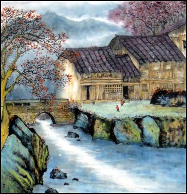 Building, Trees- Chinese Painting