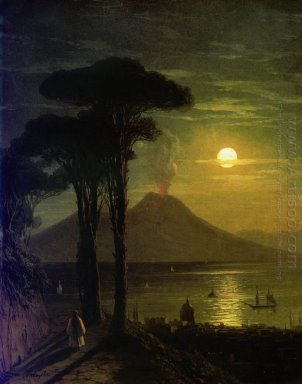 The Bay Of Naples At Moonlit Night Vesuvius 1840