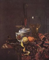 Still life with glassware and porcelain covered bowl
