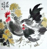 Crisantemo & Chicken - Chines Pintura