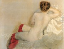 Nude with Red Stockings