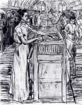 Female employees in the Candle factory in Gouda