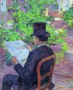Desire Dehau Reading A Newspaper In The Garden 1890