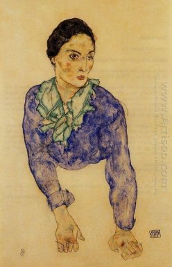 portrait of a woman with blue and green scarf 1914