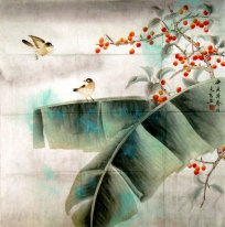 Birds in banana leaves-Cleare - Chinese Painting