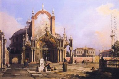 capriccio of a round church with an elaborate gothic portico in