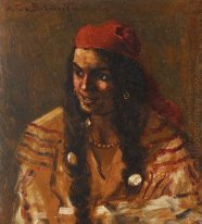 Gypsy Woman with Red Scarf