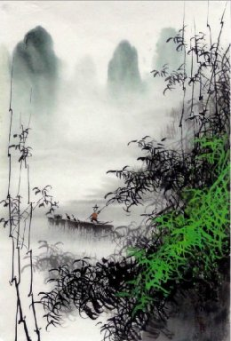 One boat on the river - Chinese Painting