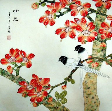 Birds&Red Flowers - Chinese Painting