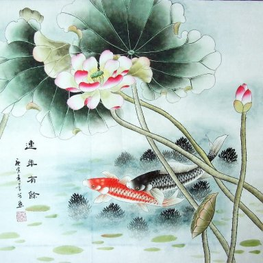 Fish & Lotus - Lukisan Cina