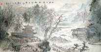 Mountains, Wooden tower - Chinese Painting