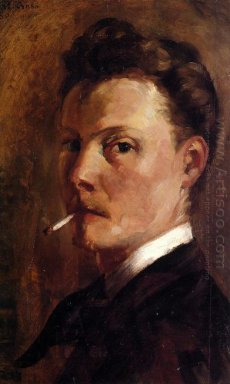 Oil Self Portrait With Cigarette