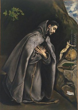St Francis in Prayer before the Crucifix 1585-90