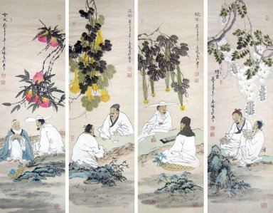 Poetry, Set of 4 - Chinese Painting