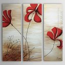 Hand-painted Floral Oil Painting - Set of 3