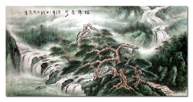 Tree and House - Liushui - Chinese Painting