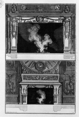 Two Fireplaces Overlapping The Support With A Mask Wreathed Crou