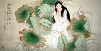 lotus leaf, girl - Heye - Chinese Painting