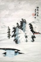 A village in the snow - Chinese Painting