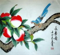 Peach & Bird Pintura -Chinês