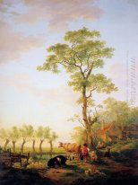 Dutch landscape with cattle and farm