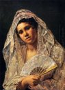 Spanish Dancer Wearing A Lace Mantilla