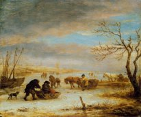 Frozen Ice Landscape with Carriages and Boats