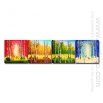 Hand-painted Landscape Oil Painting - Set of 4