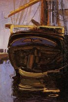 sailing ship with dinghy 1908